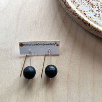 Earrings - Black Faceted Onyx Sterling Silver
