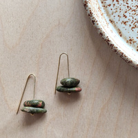 Earrings - Unakite Gold