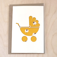 Card - Pram - Yellow Sheep
